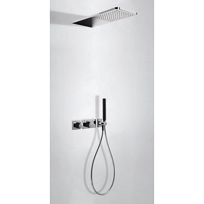 TRES - Podomítkový termostatický sprchový set BLOCKSYSTEM s uzávěrem a regulací průtoku (2-cestn (20735202NE)