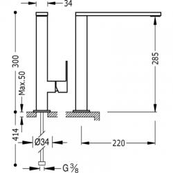 TRES - Jednopáková dřezová kuchyňská baterie ramínko 34x10mm (106486FU), fotografie 2/6