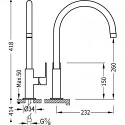 TRES - Jednopáková dřezová kuchyňská baterie (20044002VI), fotografie 2/5