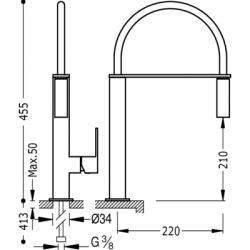 TRES - Jednopáková dřezová kuchyňská baterie s vyjímatelným kropítkem (106487VI), fotografie 2/6