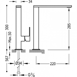 TRES - Jednopáková umyvadlová baterie ramínko 34x10mm (00648501), fotografie 2/4