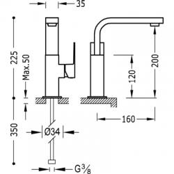 TRES - Jednopáková umyvadlová baterie ramínko 35x15mm (106603), fotografie 2/4
