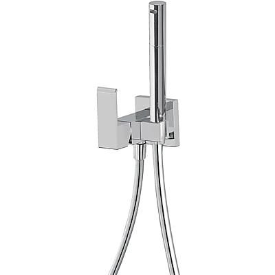 TRES - Jednopáková podomítková baterie pro bidet WC Vyměnitelný držák zprava či zleva. Sprchová mosazná baterie s omezovacím hrdlem 5l/m. Systém proti kapání a flexi hadice SATIN (00612301)
