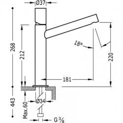 TRES - Jednopáková umyvadlová bateriedlouhé ramínko (06120601), fotografie 2/3