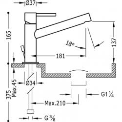 TRES - Jednopáková umyvadlová bateriedlouhé ramínko. Ventil automatického odtoku. (06220301D), fotografie 2/3