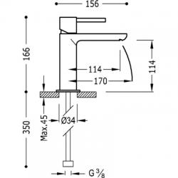TRES - Jednopáková umyvadlová bateriePOZNÁMKA: Baterie typu vodopádu je doplněna dvěma regulačními kohouty s filtrem (Kód.: 91 (06210303), fotografie 2/3