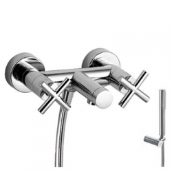 TRES - Vanový setRuční sprcha snastavitelným držákem, proti usaz. vod. kamene a flexi hadice SATIN. (163874)