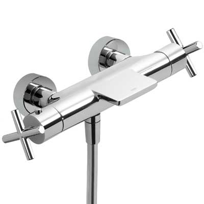 Termostatická baterie pro vanu-sprchus kaskádou. Přepínač zabudovaný v regulaci průtoku. (06317201)