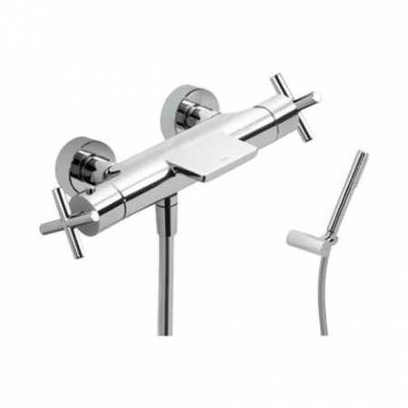 TRES - Termostatická baterie pro vanu-sprchus kaskádou (Ruční sprcha snastavitelným držákem, proti usaz. vod. kamene a flexi  (06317209)