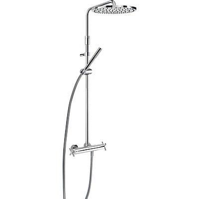 TRES TRESMOSTATIC Souprava termostatické sprchové baterie · Pevná sprcha O 300 mm (1.34.137.30). Materiál mosaz. · Ruční sprcha, proti usaz. vod. kamene (034.116.01). · Flexi hadice SATIN (91.34.609.15). · Teleskopická tyč. · Přepínač zabudovaný v regu
