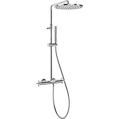 TRES TRESMOSTATIC Souprava termostatické baterie pro vanu-sprchu BIMAX · Pevná sprcha O 300 mm. Materiál mosaz (1.34.137.30). · Ruční sprcha, proti usaz. vod. kamene (034.116.01). · Flexi hadice SATIN (91.34.609). · Teleskopická tyč. (06331201 )