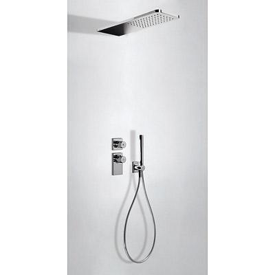 TRES TRESMOSTATIC Termostatický podomítkový sprchový set s uzávěrem a regulací průtoku (2-cestná). · Včetně podomítkového termostatického tělesa. · Sprcha z nerez. oceli 160x550 mm. (299.903.06). · Držák s nástěnným přívodem vody. · Ruční sprcha, proti us