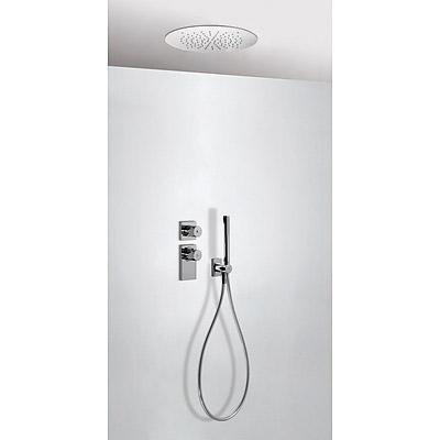 TRES TRESMOSTATIC Termostatický podomítkový sprchový set s uzávěrem a regulací průtoku (2-cestná). · Včetně podomítkového termostatického tělesa. · Stropní sprchové kropítko z nerez. oceli O 380 mm. (1.34.940). · Držák s nástěnným přívodem vody. · Ruční s