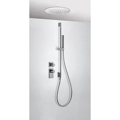 TRES TRESMOSTATIC Termostatický podomítkový sprchový set s uzávěrem a regulací průtoku (2-cestná). · Včetně podomítkového termostatického tělesa. · Stropní sprchové kropítko z nerez. oceli O 380 mm. (1.34.940). · Posuvná tyč s nástěnným přívodem vody. Dél