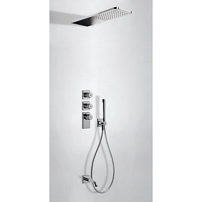 TRES TRESMOSTATIC Termostatický podomítkový vanový set s uzávěrem a regulací průtoku (3-cestná). · Sprcha z nerez. oceli 160x550 mm. (299.903.06). · Držák s nástěnným přívodem vody. · Ruční sprcha, proti usaz. vod. kamene (034.116.01). · Flexi hadice SATI