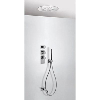 TRES TRESMOSTATIC Termostatický podomítkový vanový set s uzávěrem a regulací průtoku (3-cestná). · Stropní sprchové kropítko z nerez. oceli O 380 mm. (1.34.940). · Držák s nástěnným přívodem vody. · Ruční sprcha, proti usaz. vod. kamene (034.116.01). · Fl