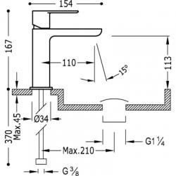 TRES - Jednopáková umyvadlová baterieVentil automatického odtoku (20010301D), fotografie 2/2