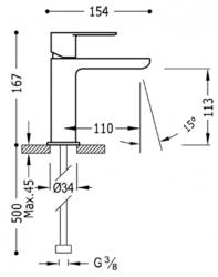 TRES - Jednopáková umyvadlová baterie ramínko s vodopádem (20010101), fotografie 4/2