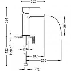 TRES - Jednopáková umyvadlová baterie ramínko s otevřeným vodopádem. POZNÁMKA: Baterie typu vodopádu je doplněna dvěma regulačn (20011001), fotografie 2/2
