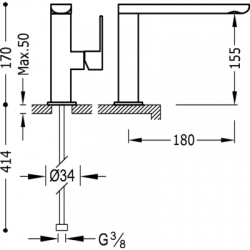 TRES - Jednopáková umyvadlová baterie ramínko 35x15mm (20020501), fotografie 2/4