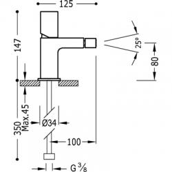 TRES - Jednopáková bidetová baterie (20012002), fotografie 2/2