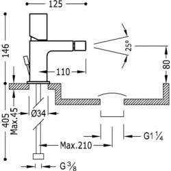 TRES - Jednopáková bidetová baterieVentil automatického odtoku (20012002D), fotografie 2/2
