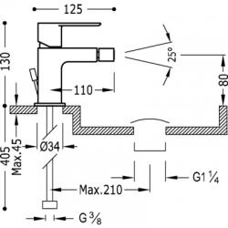 TRES - Jednopáková bidetová baterieVentil automatického odtoku (20012001D), fotografie 2/2
