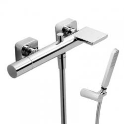 Jednopáková baterie pro vanu-sprchus kaskádou. Ruční sprcha snastavitelným držákem, proti usaz. vod. kamene a flexi ha (20017001) - TRES