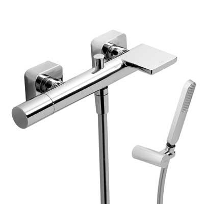 TRES - Jednopáková baterie pro vanu-sprchus kaskádou. Ruční sprcha snastavitelným držákem, proti usaz. vod. kamene a flexi ha (20017001)