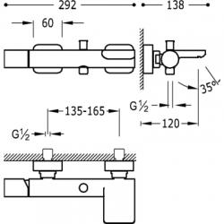 TRES - Jednopáková baterie pro vanu-sprchus kaskádou. Ruční sprcha snastavitelným držákem, proti usaz. vod. kamene a flexi ha (20017001), fotografie 4/3