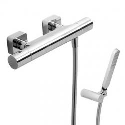 TRES - Termostatická sprchová baterie LOFT(Ruční sprcha snastavitelným držákem, proti usaz. vod. kamene a flexi hadice SATIN. (20016409)