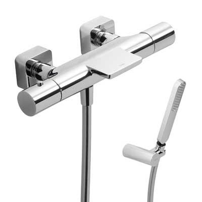 TRES - Termostatická baterie pro vanu–sprchu LOFTs kaskádou (Ruční sprcha snastavitelným držákem, proti usaz. vod. kamene a f (20017409)