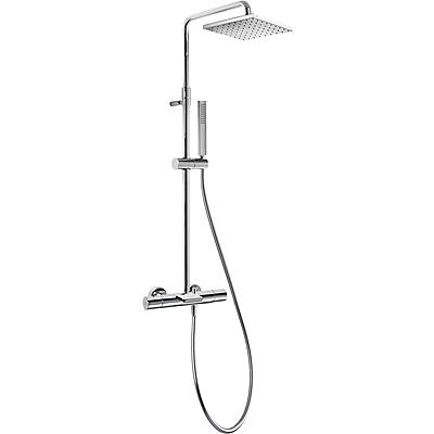TRES Souprava termostatické baterie pro vanu-sprchu CLASS · Pevná sprcha 250x250 mm. s kloubem. (20531201)