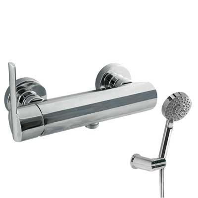 Fotografie TRES - Jednopáková sprchová baterie Ruční masážní sprcha O100mm. (5funkcí) (1.34.748) snastavitelným držákem. Flexi hadice SATIN (91.34.609.15). (181468) Tres