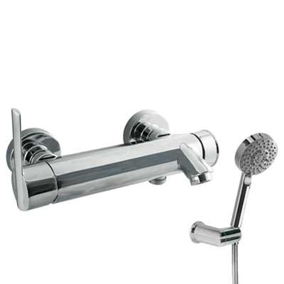 Fotografie TRES - Jednopáková baterie pro vanu-sprchu Ruční masážní sprcha O100mm. (5funkcí) (1.34.748) snastavitelným držákem. Flexi hadice SATIN (91.34.609). (181474) Tres