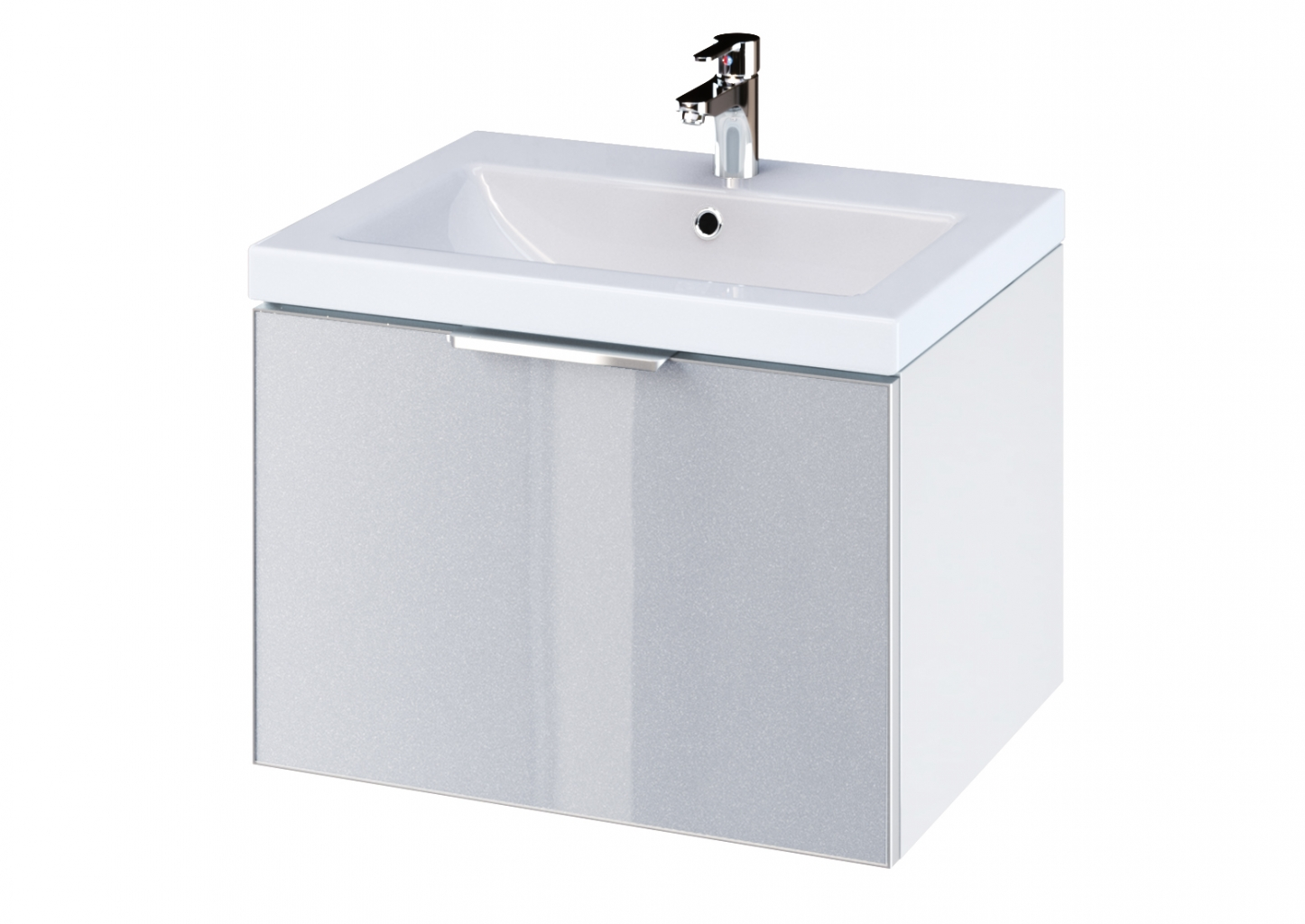 CERSANIT - Skříňka STILLO pod umyvadlo COMO/ ZURO/ AMAO/ COLOUR 60 bílá/ šedá dvířka (S575-003)