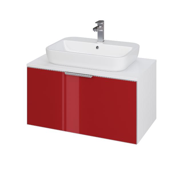 CERSANIT Skříňka STILLO pod umyvadlo CASPIA SQUARE/ OVAL 80, bílá/ červená dvířka (S575-005)