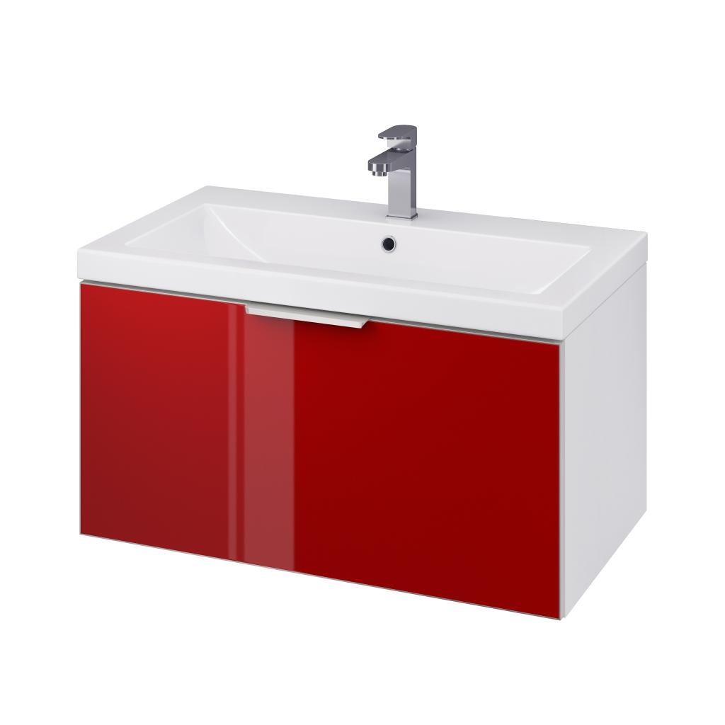 CERSANIT - Skříňka STILLO pod umyvadlo COMO/ ZURO/ AMAO 80 bílá/ červená dvířka (S575-011)