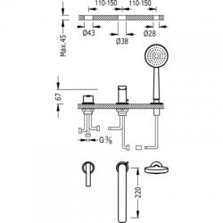 TRES - Jednopáková stojánková vanová baterie LEXRuční masážní sprcha O100mm. (5funkcí). Průtok: 3bar – 16l/m Kompatib (08116103), fotografie 2/3