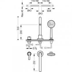 TRES - Jednopáková stojánková vanová baterie LEXRuční masážní sprcha O100mm. (5funkcí). Průtok: 3bar – 16l/m Kompatib (08115001), fotografie 2/3