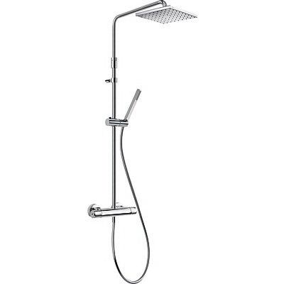 TRES TRESMOSTATIC Souprava termostatické sprchové baterie LEX · Pevná sprcha 250x250 mm (1.34.138.26). · Ruční sprcha, proti usaz. vod. kamene (006.639.01). · Flexi hadice SATIN (91.34.609.15). · Teleskopická tyč. · Přepínač zabudovaný v regulaci průto