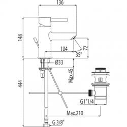 TRES - Jednopáková umyvadlová baterieVentil automatického odtoku (20310303D), fotografie 2/3