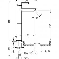 TRES - Jednopáková umyvadlová bateries nástavcem. Ventil automatického odtoku. (20320701D), fotografie 2/3