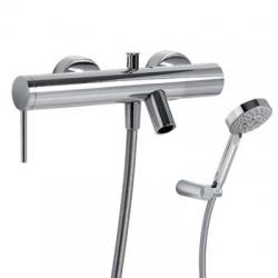 TRES - MONO-TERM® baterie pro vanu-sprchuRuční masážní sprcha O100mm. (5funkcí) snastavitelným držákem. Flexi hadice SATIN (20117001)