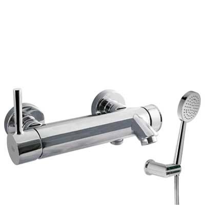 TRES - Jednopáková baterie pro vanu-sprchuRuční sprcha snastavitelným držákem, proti usaz.vod. kamene a flexi hadice SATIN. (20317001)