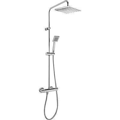 TRES Souprava termostatické sprchové baterie FLAT · Pevná sprcha 200x200 mm. s kloubem. · Ruční (20438702)
