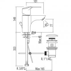 TRES - Jednopáková umyvadlová baterieVentil automatického odtoku (06910302D), fotografie 2/5