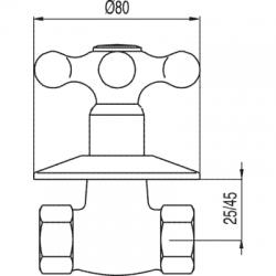 """TRES - Uzavírací ventil k zašroubování 3/4""""  (133157C), fotografie 2/2"""