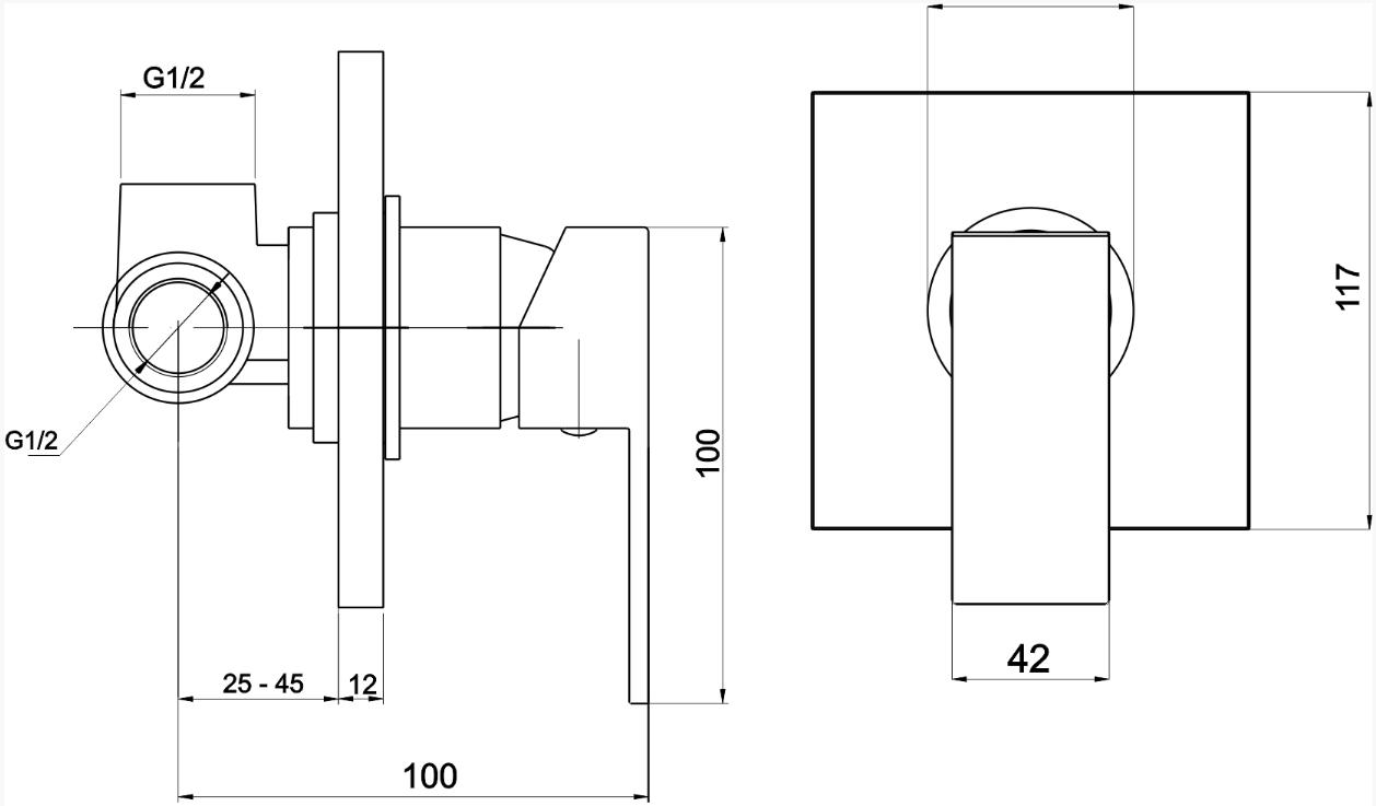 VÝPRODEJ - Sprchová baterie podomítková EDGE chrom (36050,0VYP), fotografie 2/1
