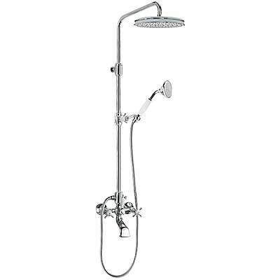TRES RETRO-TRES Souprava baterie pro vanu-sprchu RETRO · Pevná sprcha Ø 310 mm. · Ruční sprcha, proti usaz. vod. kamene. · Teleskopická tyč. (1242907 )